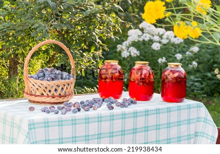 compote home canning and basket with plums - stock photo