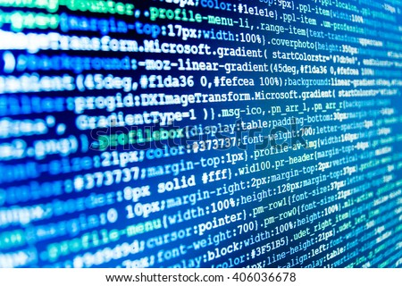 Computer script.  Abstract screen of software. Software background. Computer program. Programmer workplace. Developer working on websites codes in office. Programmer occupation.  Source code photo.