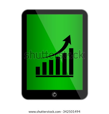computer tablet with growing graph icon