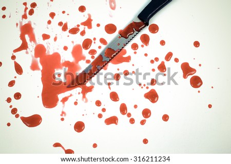 Concept Halloween Knife and blood drops color vintage - stock photo
