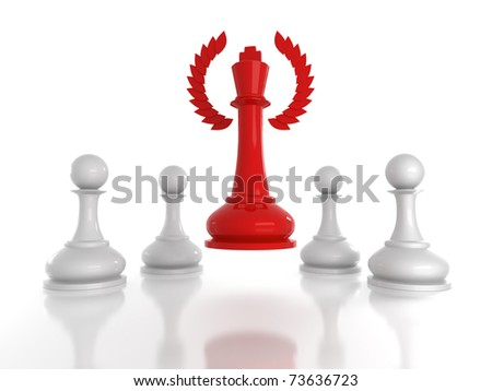 Concept: honored leadership; Red chess king with wreath rising over four white pawns. - stock photo