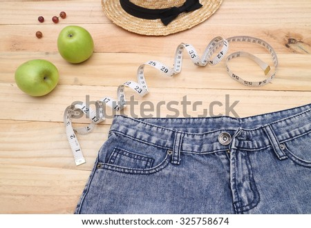 concept of weight loss, diet, nutrition - stock photo