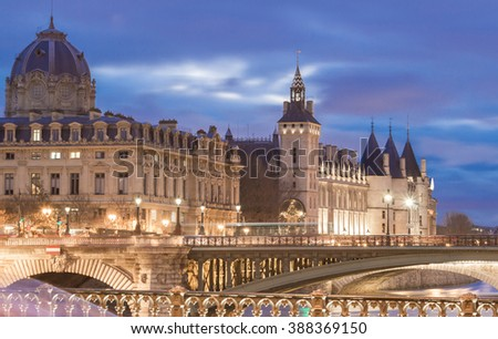Conciergerie castle located on the west of the Ile de la Cite now used for law courts.Hundreds of prisoners during the French Revolution were taken from Conciergerie to be executed on the guillotine. - stock photo
