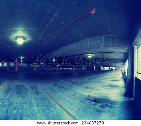 concrete structure series (parking garage) toned with a retro vintage instagram filter effect - stock photo