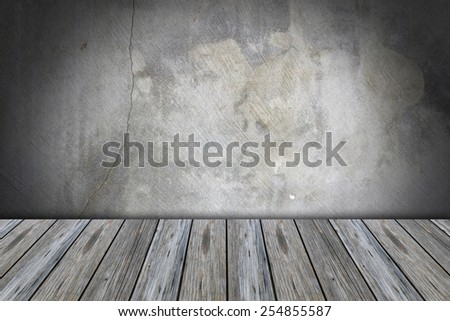 Concrete wall and the wooden floor