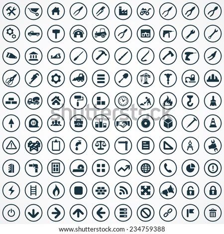 100 construction icons big universal set  - stock photo