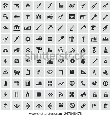 100 construction icons, black on square gray background