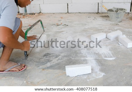 construction worker bricklayer working 2  - stock photo