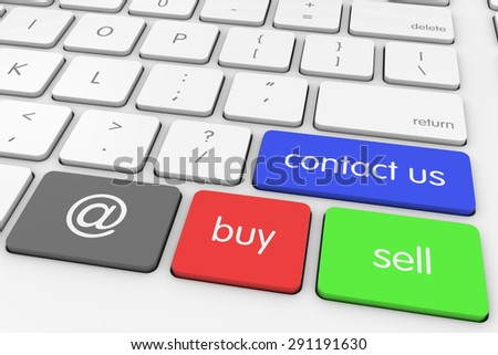 'Contact Us' Buy and Sell via Email Computer Keys on White Keyboard