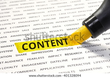 Content message highlighted with marker on paper of other related words. For direction of business strategy success concept - stock photo