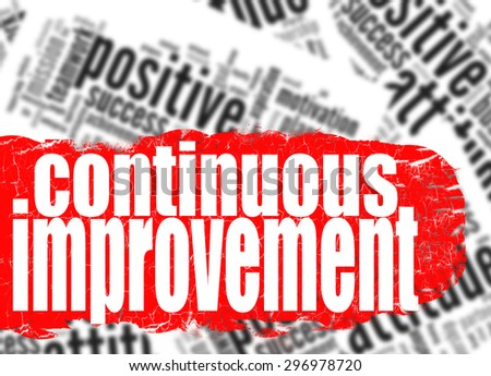 Continuous improvement word cloud image with hi-res rendered artwork that could be used for any graphic design. - stock photo