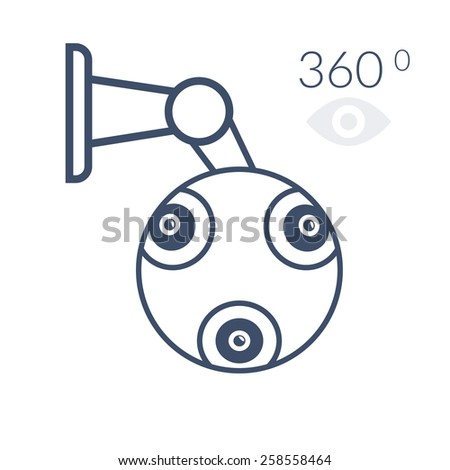 360 contour cctv icon. Isolated on white background - stock photo