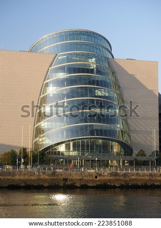 Convention Centre Center in  Docklands Dublin Ireland on River Liffey - stock photo
