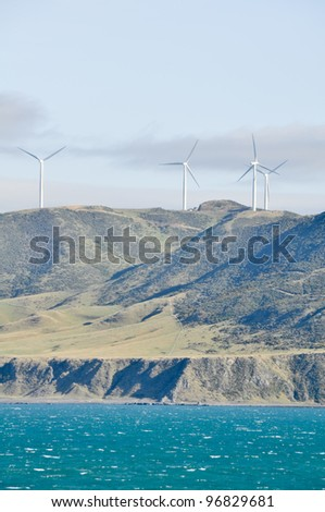 Cook Strait seen from the ferry leaving to North Island (New Zealand) - stock photo