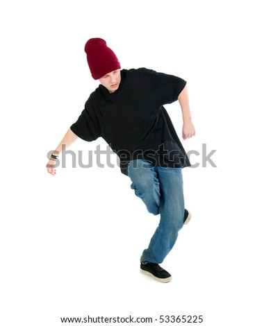 cool hip hop style dancer.breakdance Shot over white background