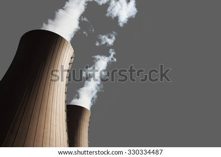 Cooling towers of nuclear power plant on gray backgrond,isolated