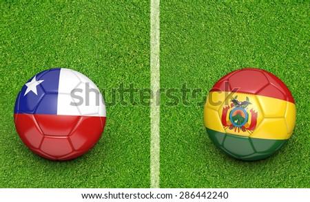 2015 Copa America football tournament, teams Chile vs Bolivia - stock photo