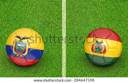 2015 Copa America football tournament, teams Ecuador vs Bolivia - stock photo