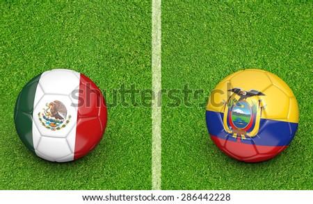 2015 Copa America football tournament, teams Mexico vs Ecuador - stock photo