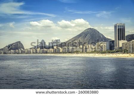 Copacabana Beach in Rio de Janeiro, Brazil - stock photo