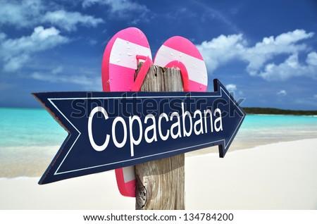 Copacabana sign on the beach - stock photo