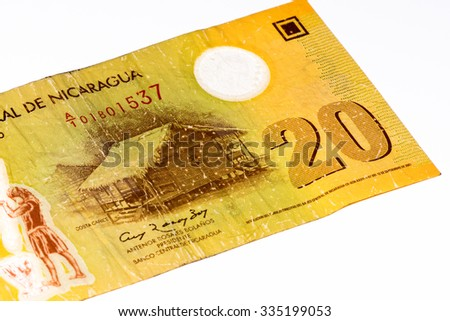 20 Cordobas bank note. Cordoba is the national currency of Nicaragua