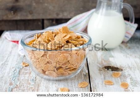 Corn flakes and milk . Breakfast, Selective focus - stock photo