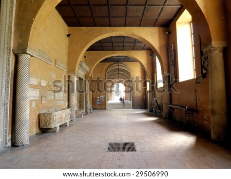 Corridor of medieval abbey - stock photo
