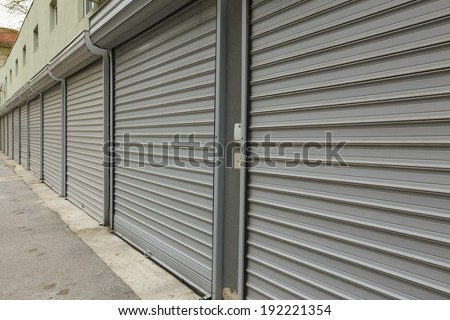 corrugated metal doors of garages - stock photo
