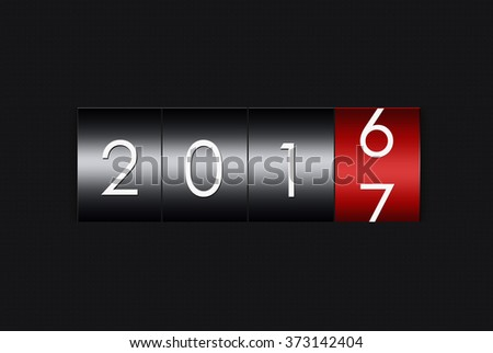 2017 countdown timer  isolated on black background. - stock photo