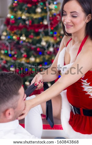 couple in love on Christmas night - stock photo