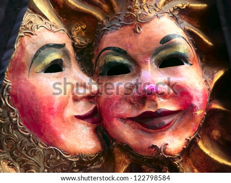 Couple of face mask in Venezia, Italy - stock photo