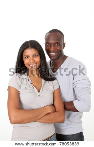 couple standing on white background - stock photo