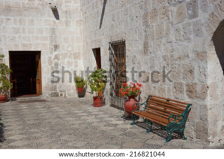 Courtyard in a historic Spanish style colonial house in Arequipa, Peru. The building now houses the Regional Library Mario Vargas Llosa - stock photo