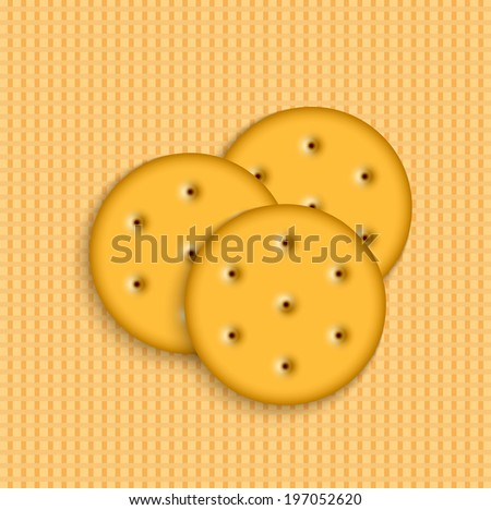 crackers on striped background. - stock photo