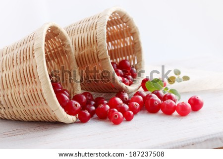 cranberries in baskets - stock photo