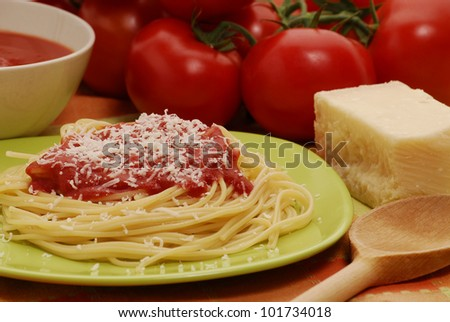 Creamed tomatoes sauce.Pasta tomato sauce and cheese.