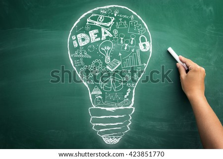 Creative business idea â?? concept of creative and successful idea with all elements in one white bulb