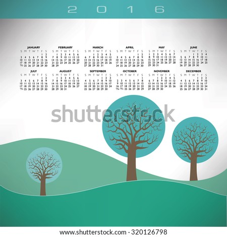 2016 Creative tree calendar for print or web