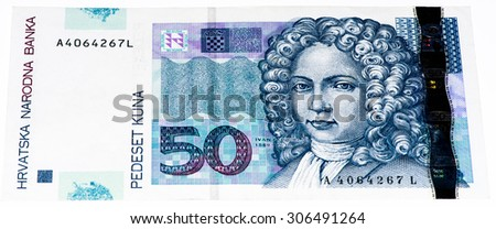 50 Croatian kunas bank note. Kuna is the national currency of Croatia