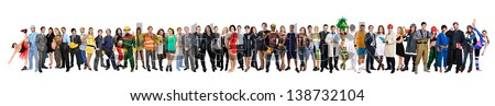 Crowd or group of different people isolated in white - stock photo