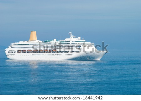 cruise ship in Monte-Carlo water area - stock photo