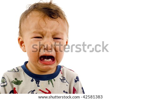 Crying Baby Boy a lot of Copyspace - Isolated over a white background - stock photo
