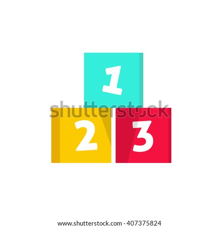 123 cubes illustration, building blocks with numbers, logo design element, concept of children game symbol, education, isolated on white background - stock photo