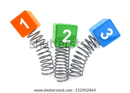 123 cubes jumping with spring on a white background - stock photo