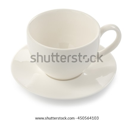 Cup and dish, isolated on white