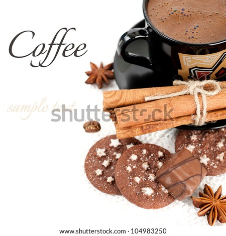 Cup of coffee, candy, chocolate chip cookies and cinnamon sticks (with sample text) - stock photo