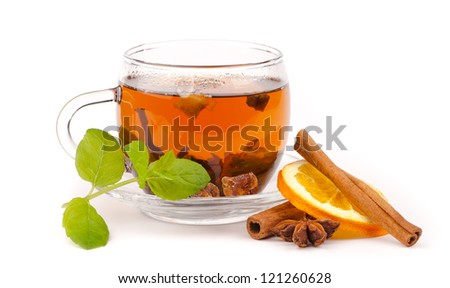 Cup of tea isolated on white 	Cup of tea isolated on white