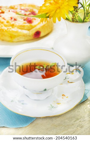 cup of tea on Summer table