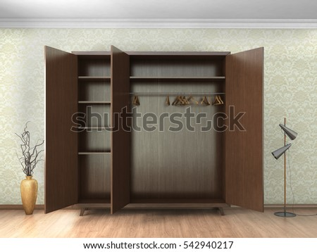 cupboard in concrete interior. 3D Rendering.
